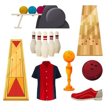 Ikony kręgle zestaw narzędzi do gry wektor sprzęt