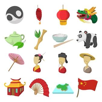 Ikony kreskówka chiny zestaw na białym tle wektor