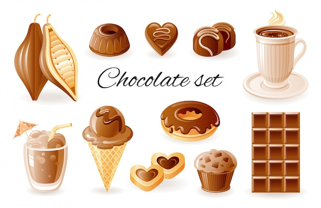 Ikony kreskówka czekolada, kawa i kakao. zestaw słodkich potraw ze słodyczami, pączkami, muffinami, ziarnem kakao, ciasteczkami.