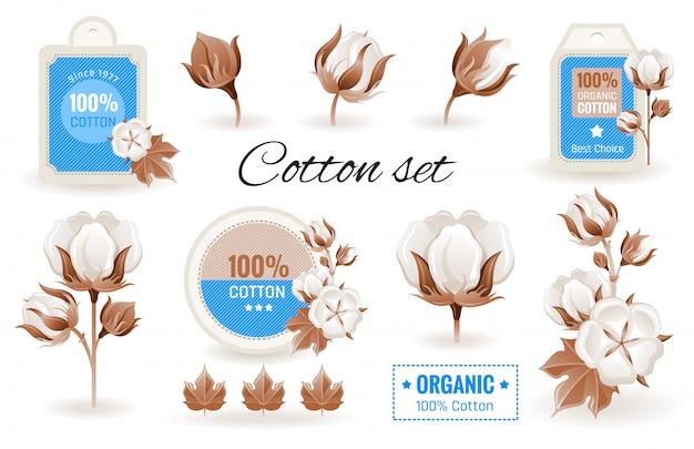 Ikony kreskówka eko bawełny. bawełniany zestaw z kwiatkiem, gałęzią, wzorem etykiety, logo.