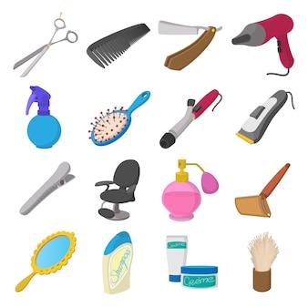 Ikony kreskówka fryzjer sklep. fryzjer zestaw na białym tle wektor