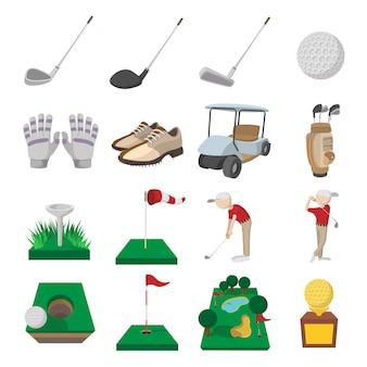 Ikony kreskówka golf zestaw na białym tle