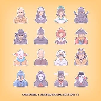 Ikony kreskówka ludzie. gra kostiumowa, mundur, elementy kostiumu maskującego. ilustracja koncepcja.