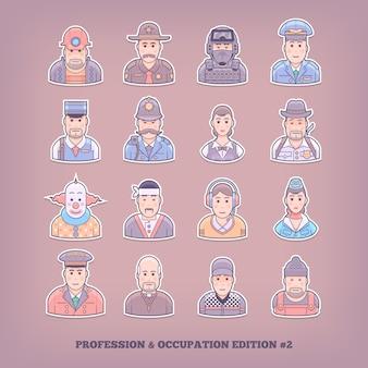 Ikony kreskówka ludzie. zawód i elementy zawodu. ilustracja koncepcja.