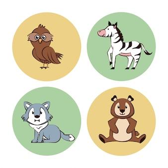 Ikony kreskówka okrągłe zwierzęta ładny