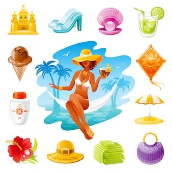 Ikony kreskówka podróży morskich. letnie wakacje z piękną dziewczyną, kremem do opalania, torbą, sokiem, słomkowym kapeluszem, parasolem plażowym.