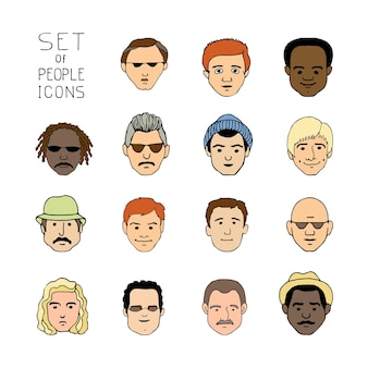 Ikony kreskówka szkic z śmieszne twarze mężczyzn. ręcznie rysowane ludzie doodle kolekcja awatarów