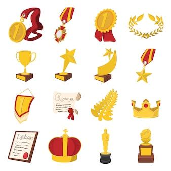 Ikony kreskówka trofeum i nagrody ustawić wektor na białym tle