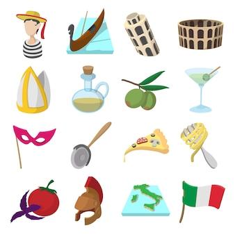 Ikony kreskówka włochy ustawione dla sieci i urządzeń mobilnych