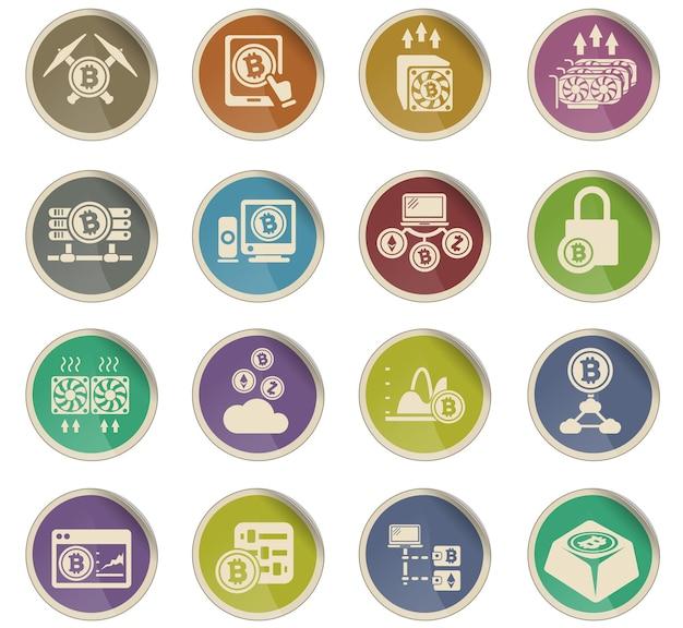 Ikony kryptowalut i górnictwa w postaci okrągłych papierowych etykiet