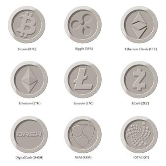 Ikony kryptowaluty monety