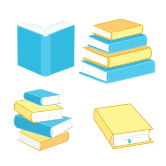 Ikony książek są wykonane w stylu płaskich podręczników szkolnych, na białym tle. zestaw encyklopedii i ilustracji wektorowych znaków podręcznikowych