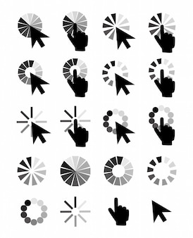Ikony Kursorów Kursora: Strzałka Dłoni Myszy. Wskaźniki Komputerowe, Kliknięcie Kursorem Internetowym. Premium Wektorów