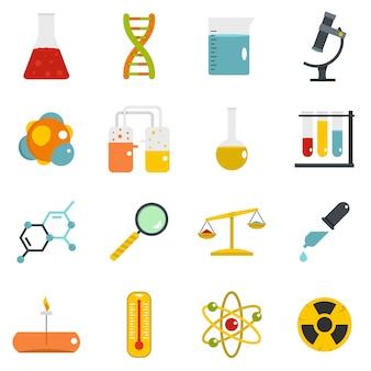 Ikony laboratorium chemicznego w stylu płaski