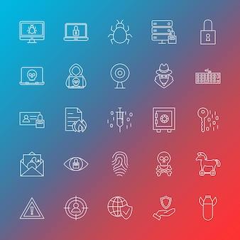 Ikony linii bezpieczeństwa internetu. ilustracja wektorowa zarys hakerów symboli na niewyraźne tło.