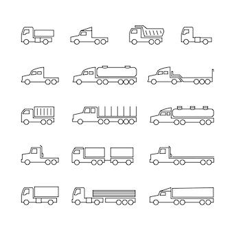 Ikony linii ciężarówki. przyczepy dostawcze, przyczepy ładunkowe, wywrotki i furgonetki. transport zarys symbole na białym tle