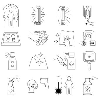 Ikony linii dezynfekcji. czyszczenie i dezynfekcja powierzchni, spryskiwacz, żel do mycia rąk, lampa uv, mata dezynfekująca, termometr na podczerwień, dozownik, tunel dezynfekcyjny. zasady koronawirusa. obrys edytowalny.