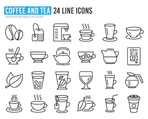 Ikony linii kawy i herbaty. czajnik, ekspres do kawy.