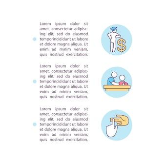 Ikony linii koncepcji kosztów wsparcia edukacyjnego z tekstem
