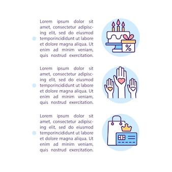 Ikony linii koncepcji statusu lojalności marki z tekstem