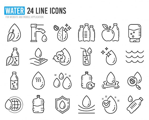 Ikony linii kropli wody. zestaw butelek, filtr antybakteryjny i woda z kranu.
