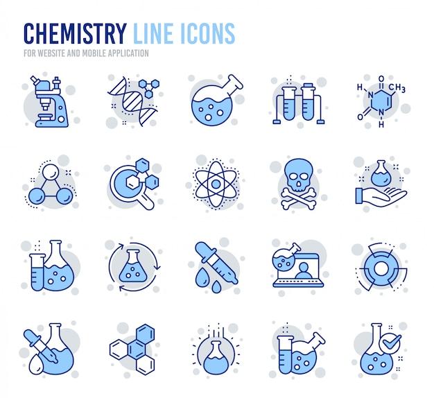 Ikony linii laboratorium chemii. wzór chemiczny, mikroskop i analiza medyczna.