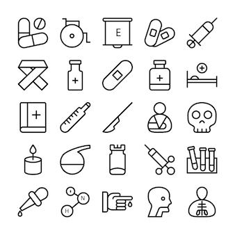 Ikony linii medycznych, zdrowia i szpitala