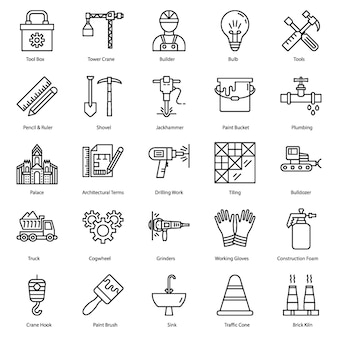 Ikony linii narzędzi budowlanych