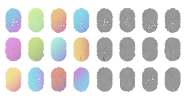 Ikony linii papilarnych, odciski palców w czarnym i kolorowym wzorze gradientu, szablony logo. abstrakcyjne znaki odcisków palców, biometryczna tożsamość identyfikacyjna, skanowanie cyfrowe lub technologia dostępu do zabezpieczeń i blokady dostępu