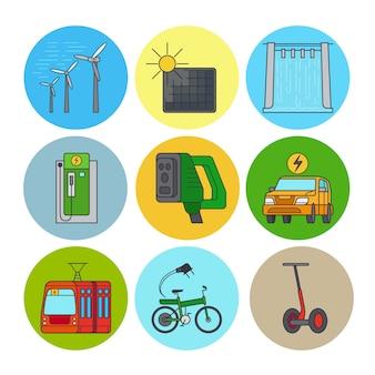 Ikony linii płaskiej zielonej energii i eko transportu