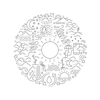 Ikony linii pogoda w okrągły kształt na białym tle