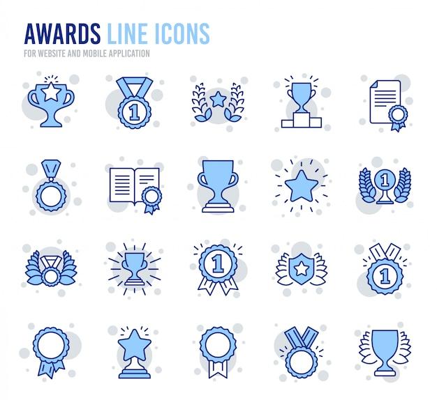 Ikony linii premiowej. medal zwycięzcy, puchar zwycięstwa, certyfikat.