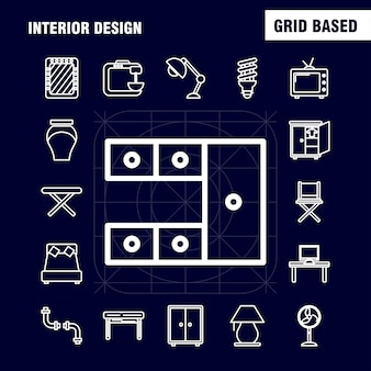 Ikony linii projektowania wnętrz