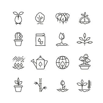 Ikony linii roślin, sadzenia i nasion. wyrastają rosnące symbole