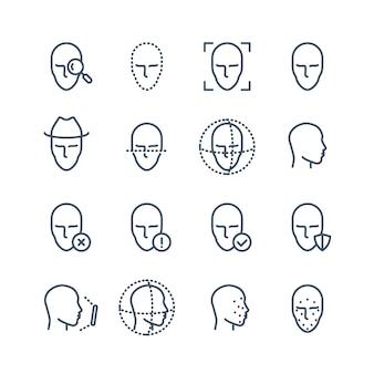 Ikony linii rozpoznawania twarzy. stawia czoło wykrywaniu danych biometrycznych, skanowaniu twarzy i odblokowywaniu piktogramów wektorowych systemu. skanowanie twarzy, ilustracja identyfikacji biometrycznej