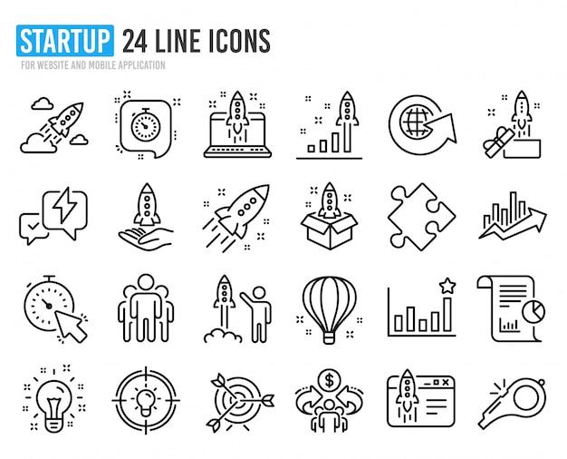Ikony linii startowej. zestaw projektu uruchomienia, raportu biznesowego i celu.