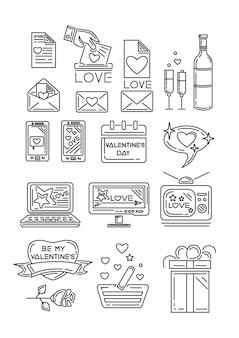 Ikony linii ustawione na walentynki i inne romantyczne wydarzenia. pudełko prezentowe, kalendarz, kwiat róży, romantyczna wiadomość, sprzęt agd, serduszko z napisem - be my valentine. ilustracja