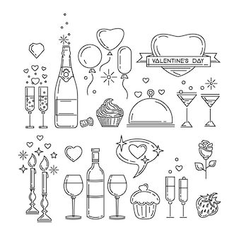 Ikony linii ustawione na walentynki i inne romantyczne wydarzenia. romantyczna kolacja. butelka wina, kieliszki, szampan, truskawki, ciasto, kwiat róży, blask świec. ilustracja