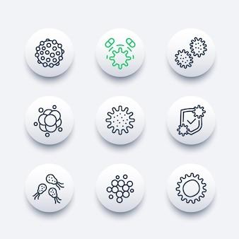 Ikony linii wektorów drobnoustrojów, wirusów i bakterii