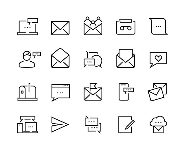 Ikony linii wiadomości. komunikacja e-mail i sms, wiadomość telefoniczna i powiadomienia online. wektor zestaw ikon rozmowy mobilnej do odbierania biuletynów lub wiadomości e-mail
