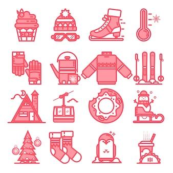 Ikony linii zimowych. znak i symbole w płaskiej konstrukcji zima z elementami koncepcji mobilnych i aplikacji internetowych.