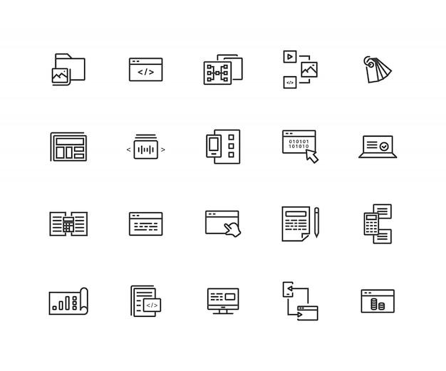 Ikony linii związanych z programowaniem sieci web