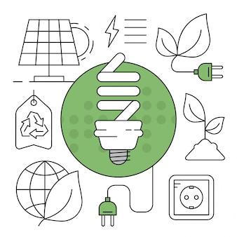 Ikony liniowej zielonej energii minimalne elementy środowiska