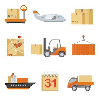 Ikony logistyki w stylu vintage płaski. ciężarówka i spedycja, ładunek i transport, dostawa pudełek.