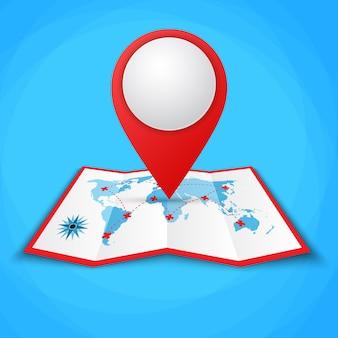Ikony lokalizacji na mapie świata.