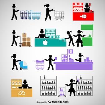 Ikony ludzie centrum handlowe