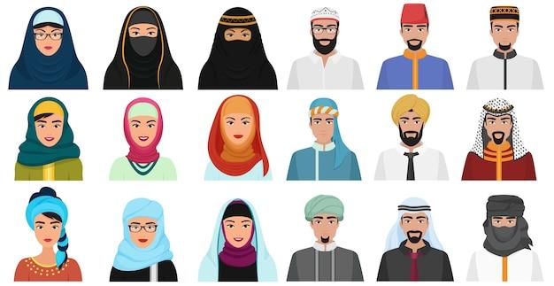 Ikony ludzie islamu. arabskie muzułmańskie awatary muzułmańskie twarze głowy mężczyzn i kobiet.