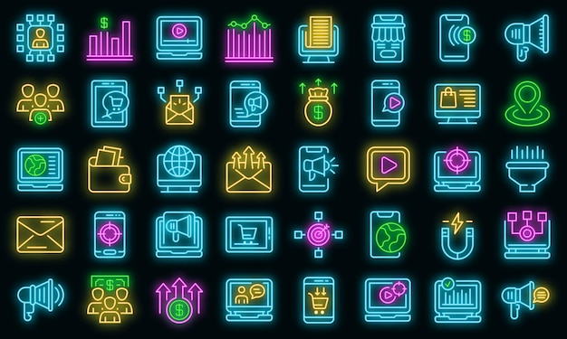 Ikony marketingu online zestaw wektor neon