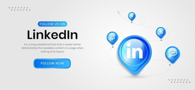 Ikony mediów społecznościowych baner linkedin