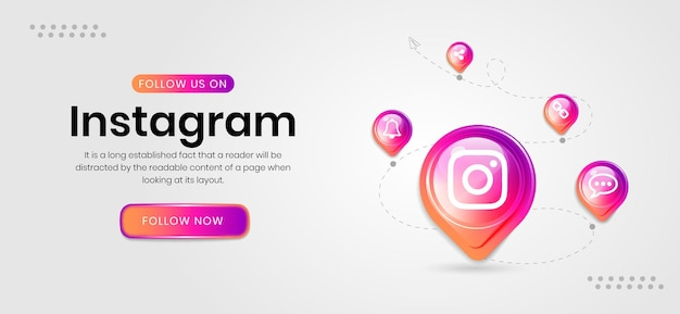 Ikony mediów społecznościowych baner na instagramie